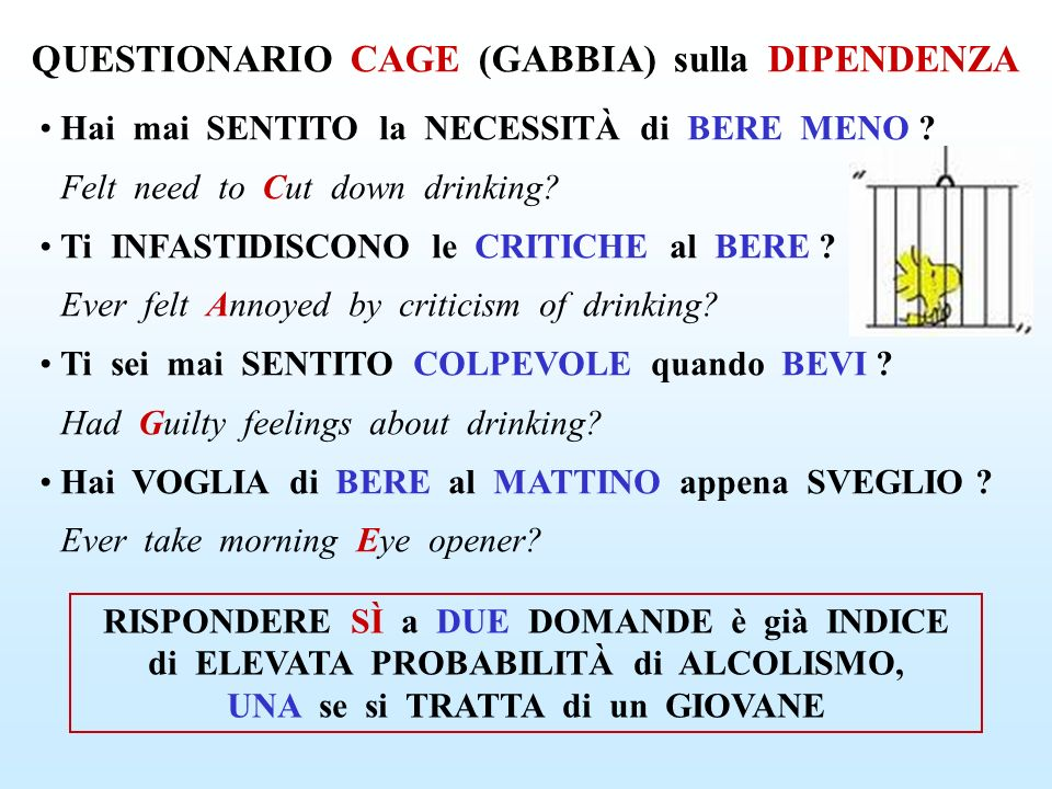 QUESTIONARIO CAGE (GABBIA) sulla DIPENDENZA