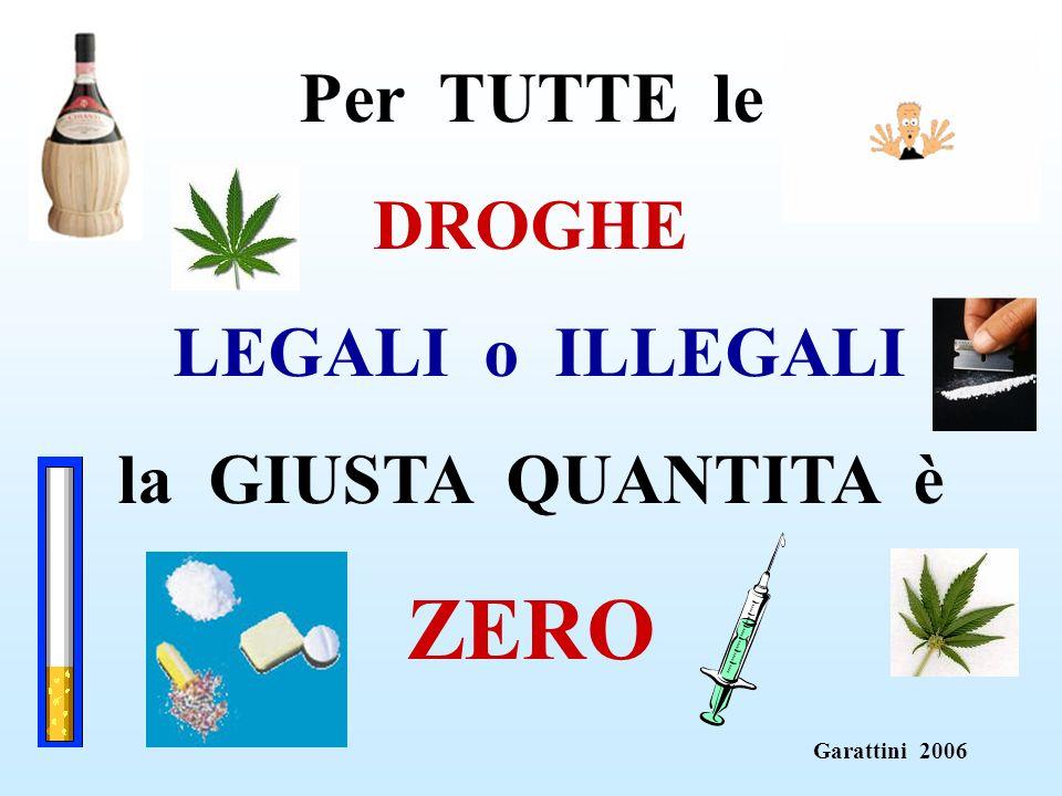 ZERO Per TUTTE le DROGHE LEGALI o ILLEGALI la GIUSTA QUANTITA è