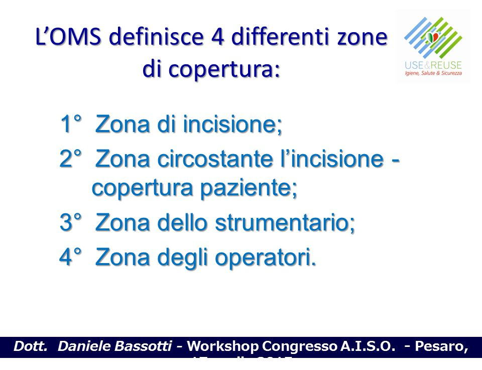 L'OMS definisce 4 differenti zone di copertura: