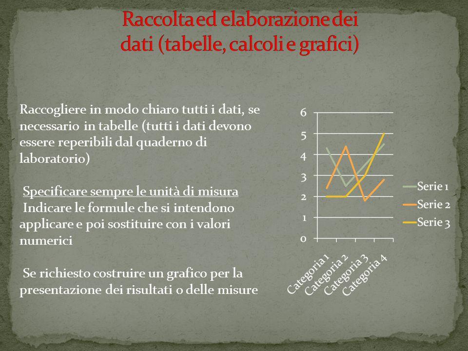 Raccolta ed elaborazione dei dati (tabelle, calcoli e grafici)