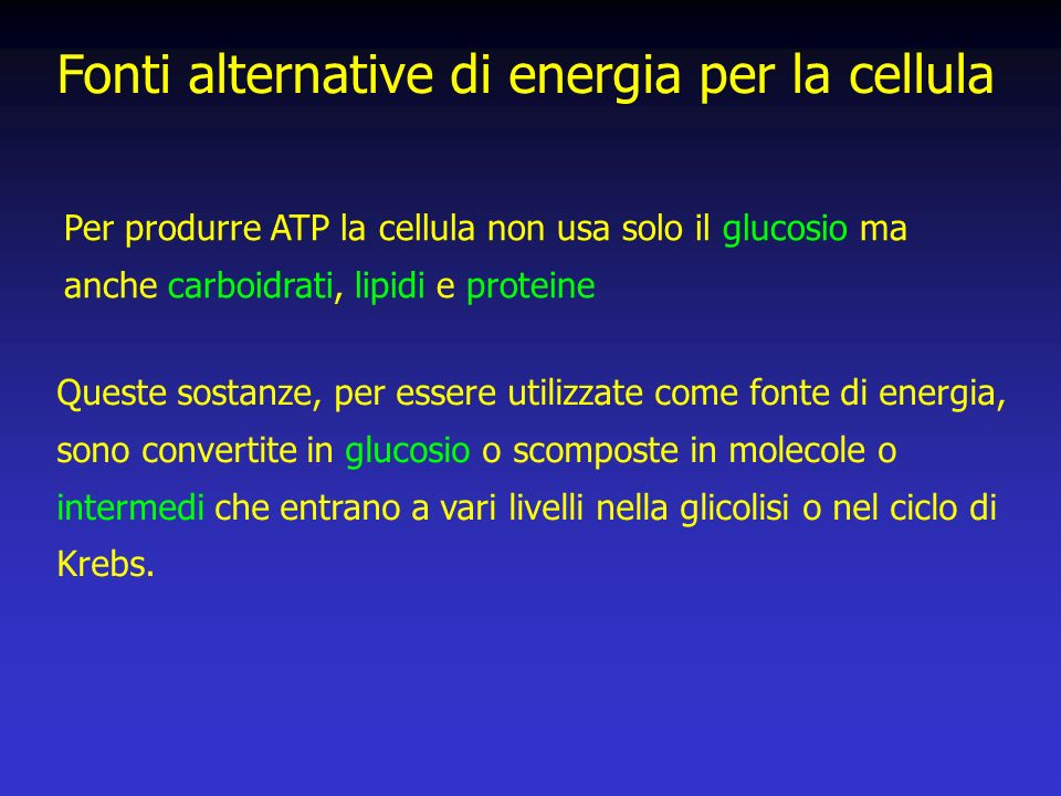 Fonti alternative di energia per la cellula