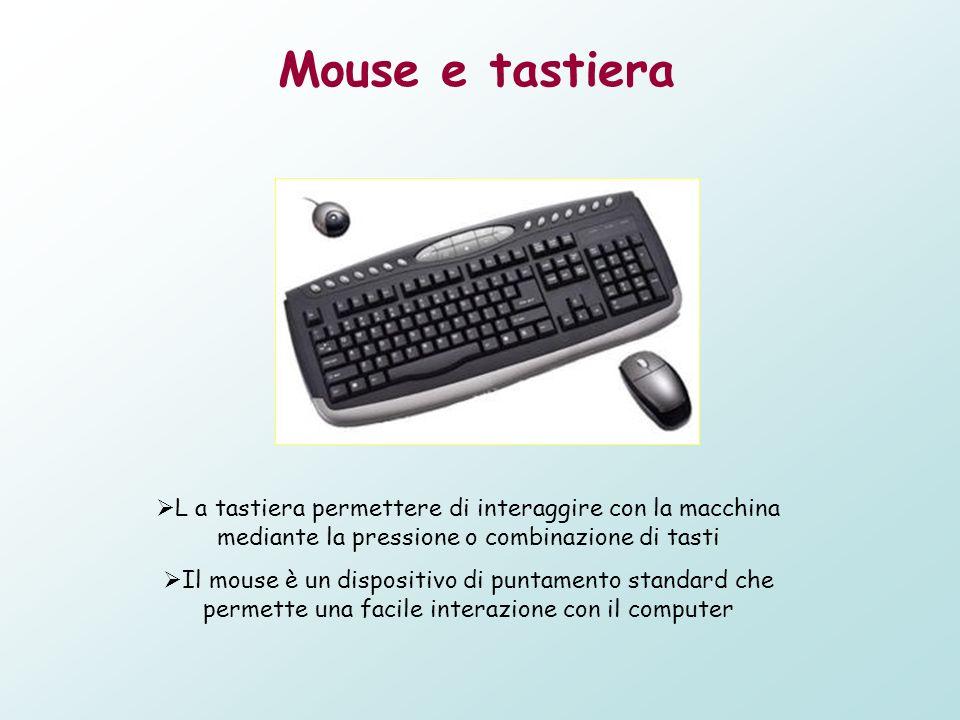 Mouse e tastiera L a tastiera permettere di interaggire con la macchina mediante la pressione o combinazione di tasti.