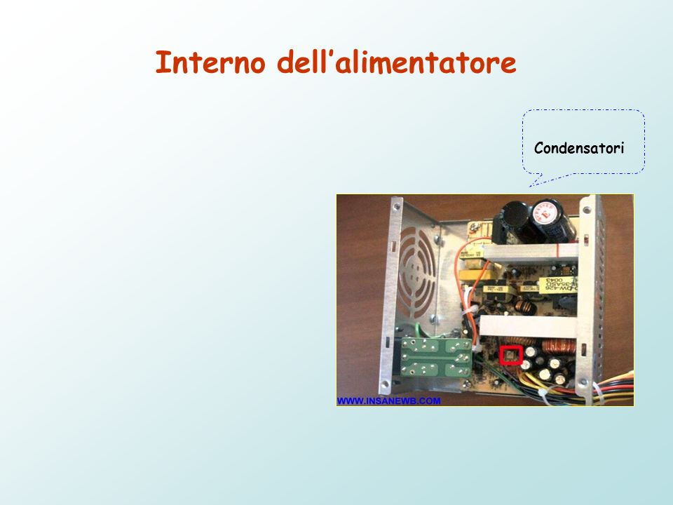 Interno dell'alimentatore