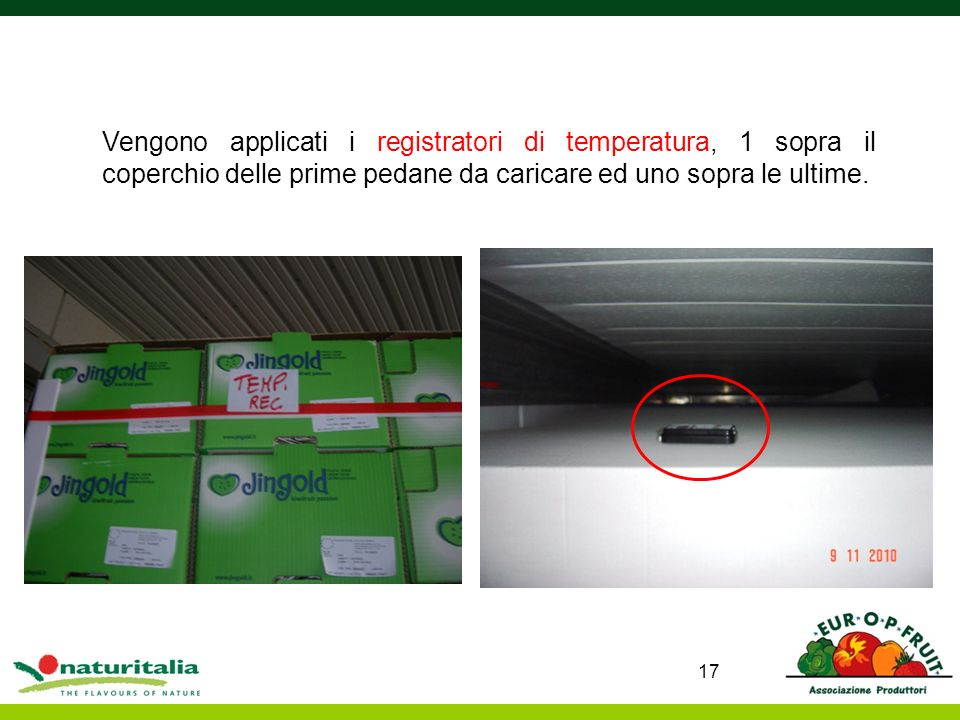 Vengono applicati i registratori di temperatura, 1 sopra il coperchio delle prime pedane da caricare ed uno sopra le ultime.