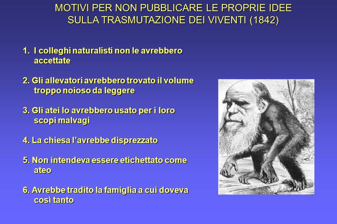 MOTIVI PER NON PUBBLICARE LE PROPRIE IDEE SULLA TRASMUTAZIONE DEI VIVENTI (1842)