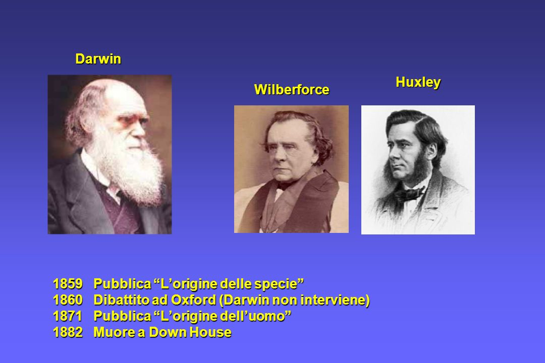 DarwinHuxley. Wilberforce. 1859 Pubblica L'origine delle specie 1860 Dibattito ad Oxford (Darwin non interviene)