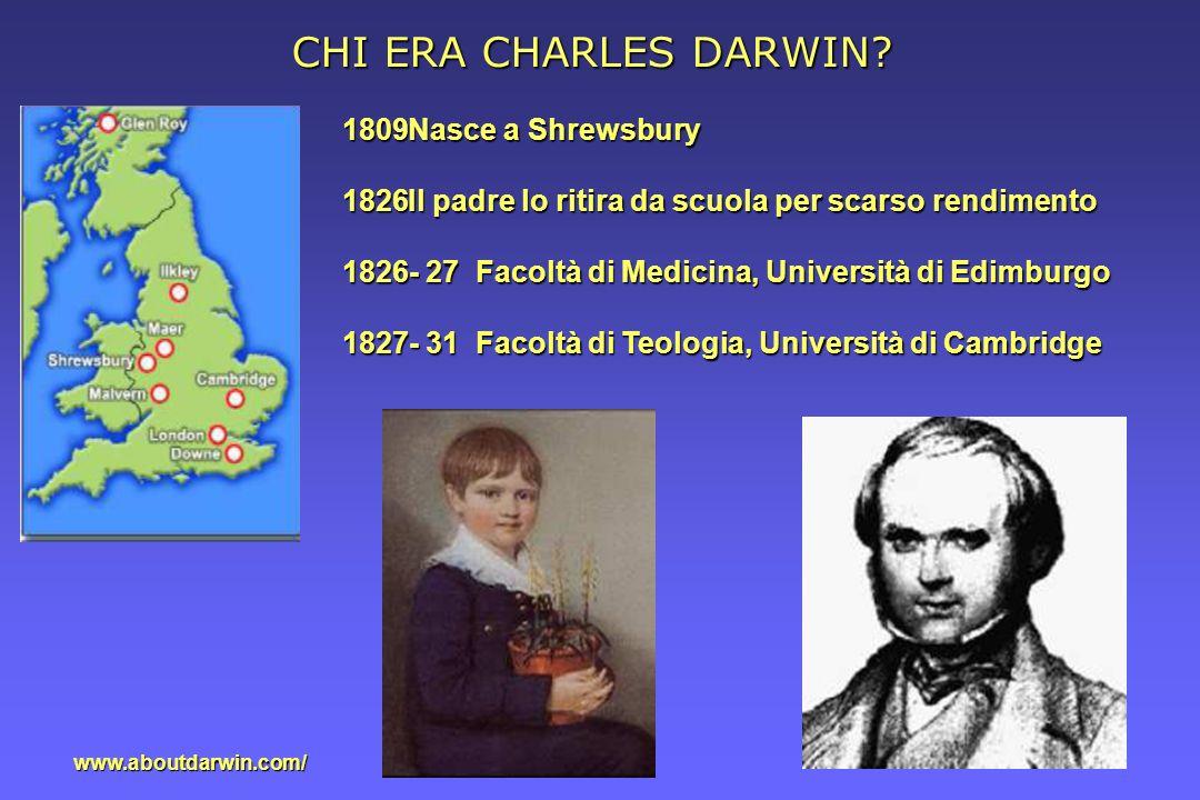 CHI ERA CHARLES DARWIN Nasce a Shrewsbury