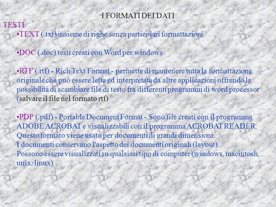 I FORMATI DEI DATI TESTI. TEXT (.txt) insieme di righe senza particolari formattazioni. DOC (.doc) testi creati con Word per windows.