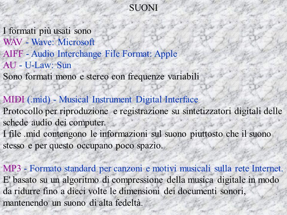 SUONI I formati più usati sono. WAV - Wave: Microsoft. AIFF - Audio Interchange File Format: Apple.