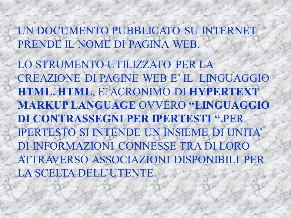 UN DOCUMENTO PUBBLICATO SU INTERNET PRENDE IL NOME DI PAGINA WEB.