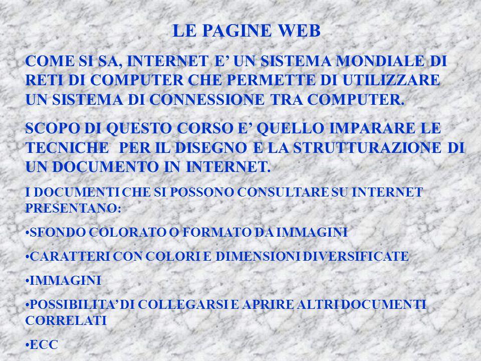 LE PAGINE WEB COME SI SA, INTERNET E' UN SISTEMA MONDIALE DI RETI DI COMPUTER CHE PERMETTE DI UTILIZZARE UN SISTEMA DI CONNESSIONE TRA COMPUTER.