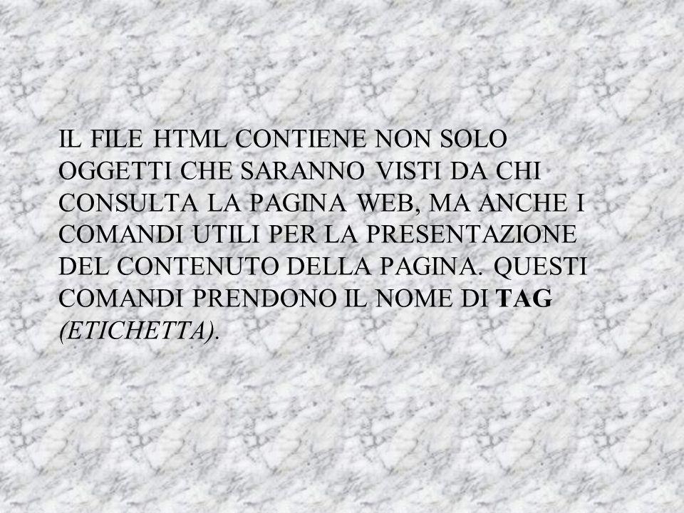IL FILE HTML CONTIENE NON SOLO OGGETTI CHE SARANNO VISTI DA CHI CONSULTA LA PAGINA WEB, MA ANCHE I COMANDI UTILI PER LA PRESENTAZIONE DEL CONTENUTO DELLA PAGINA.