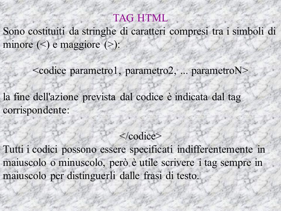 <codice parametro1, parametro2, ... parametroN>