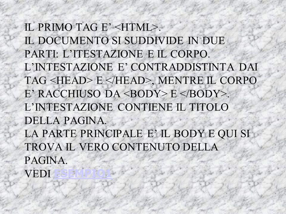 IL PRIMO TAG E' <HTML>