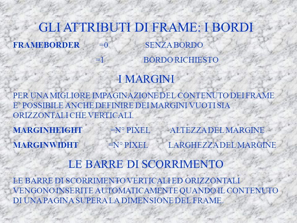 GLI ATTRIBUTI DI FRAME: I BORDI