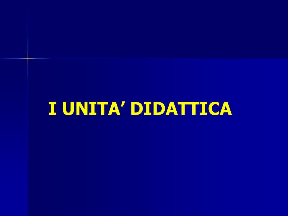 I UNITA' DIDATTICA