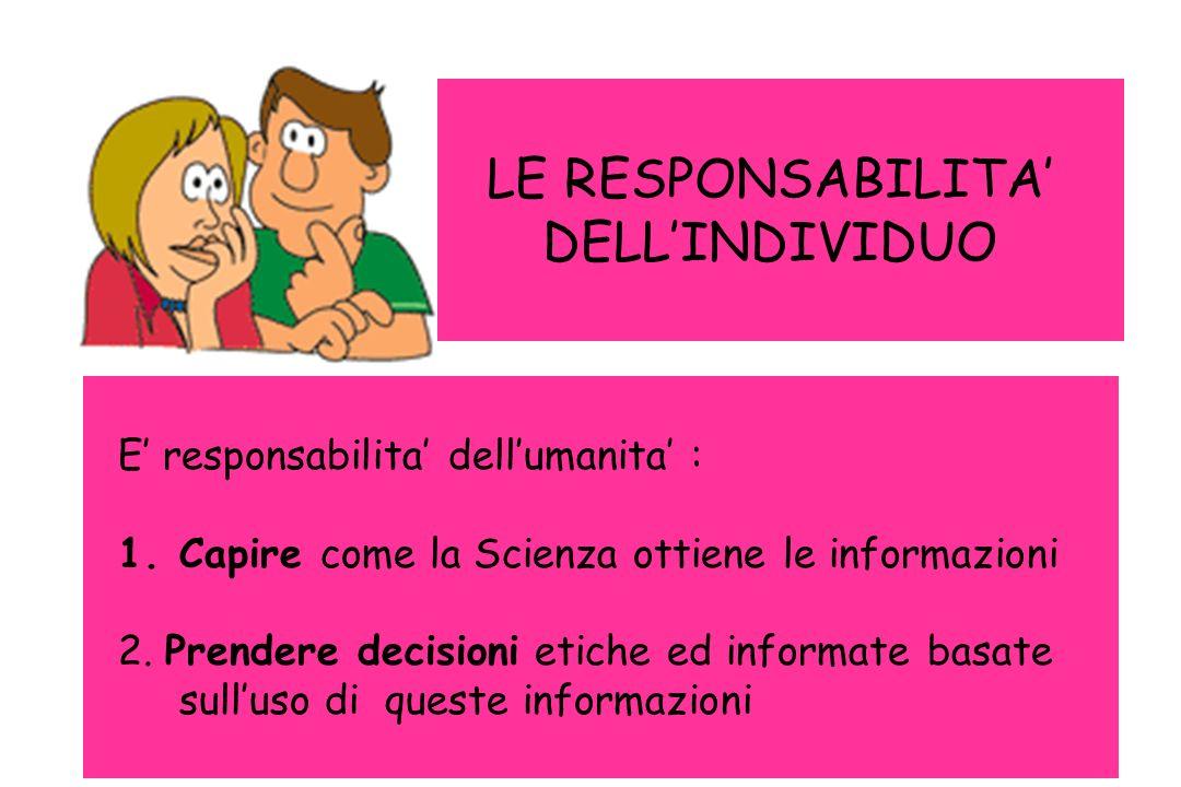 LE RESPONSABILITA' DELL'INDIVIDUO