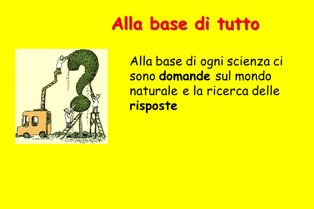 Alla base di tutto Alla base di ogni scienza ci sono domande sul mondo naturale e la ricerca delle risposte.