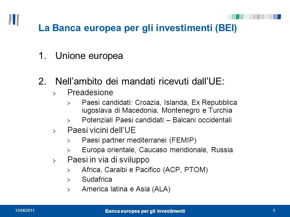 La Banca europea per gli investimenti (BEI)