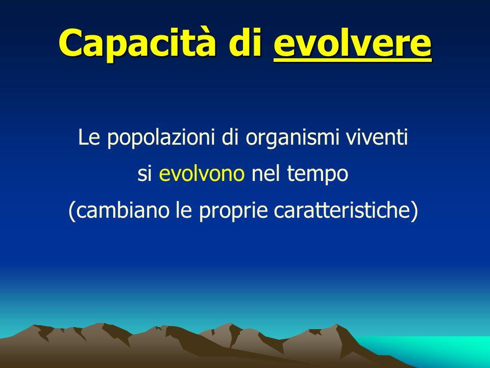 Capacità di evolvere Le popolazioni di organismi viventi