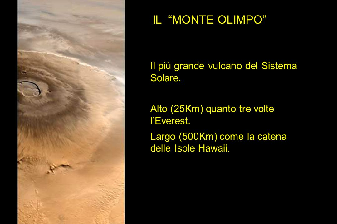 IL MONTE OLIMPO Il più grande vulcano del Sistema Solare.