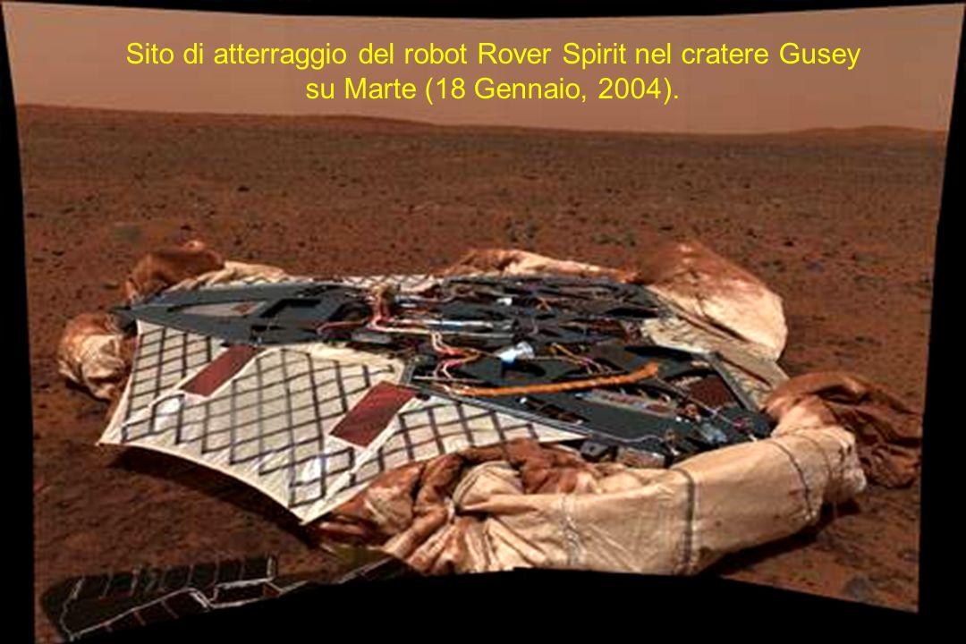 Sito di atterraggio del robot Rover Spirit nel cratere Gusey su Marte (18 Gennaio, 2004).