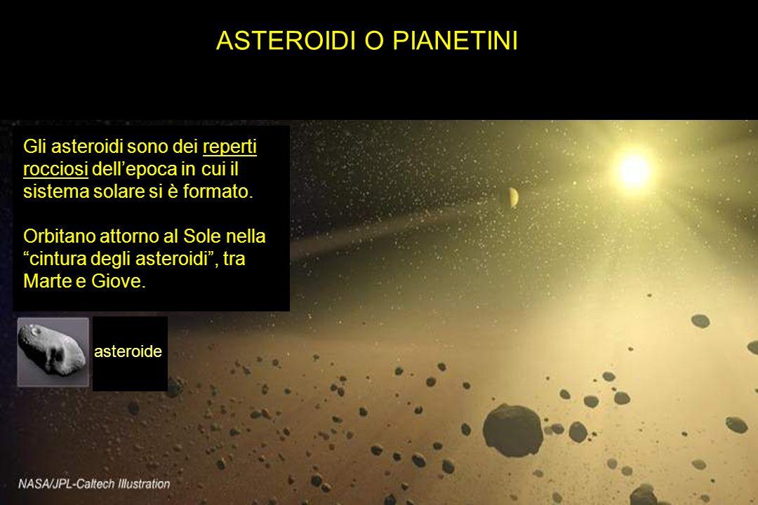ASTEROIDI O PIANETINI Gli asteroidi sono dei reperti rocciosi dell'epoca in cui il sistema solare si è formato.