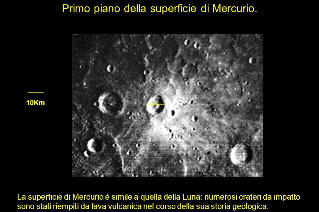 Primo piano della superficie di Mercurio.