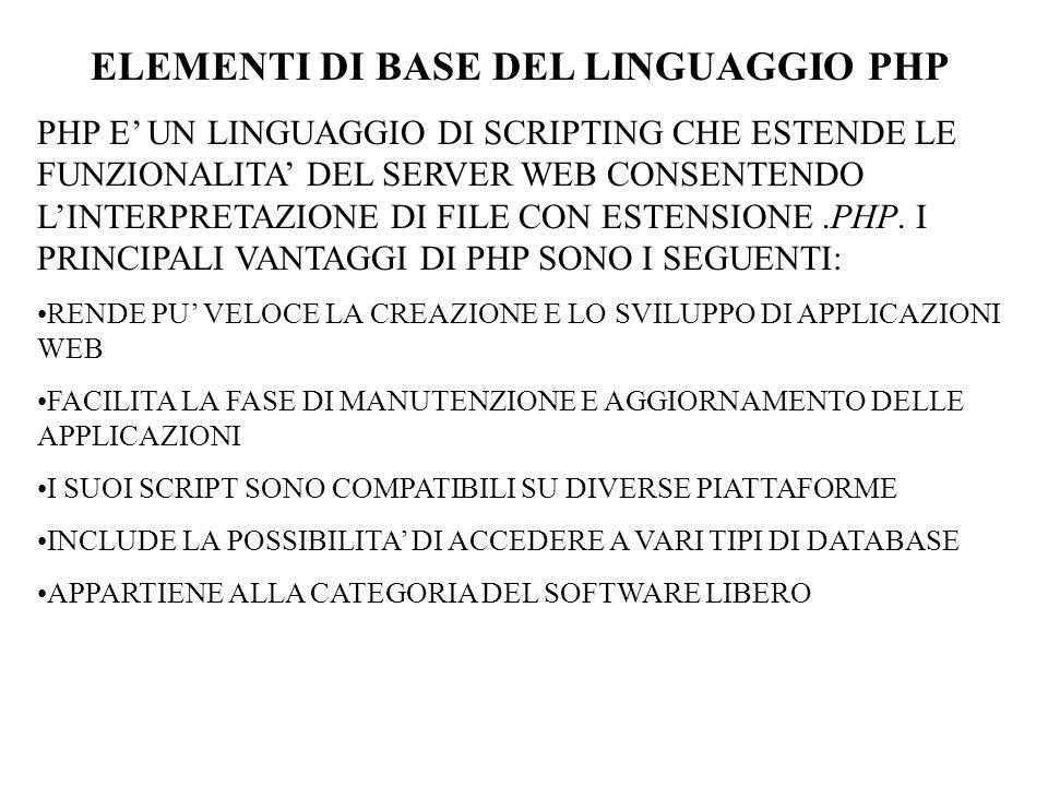 ELEMENTI DI BASE DEL LINGUAGGIO PHP