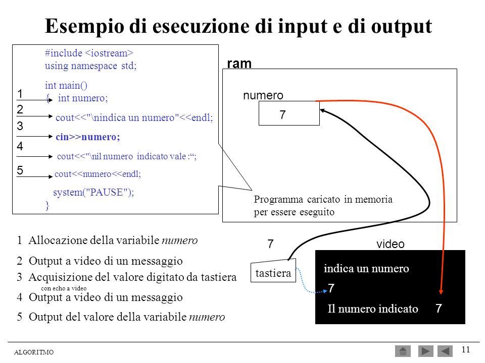 Esempio di esecuzione di input e di output