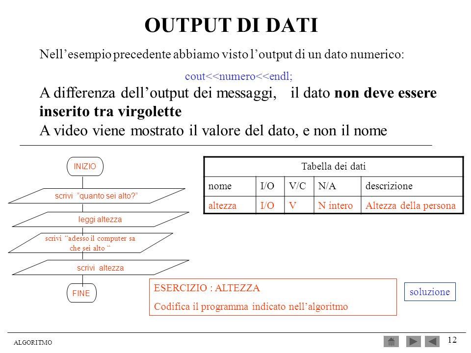 OUTPUT DI DATI Nell'esempio precedente abbiamo visto l'output di un dato numerico: cout<<numero<<endl;