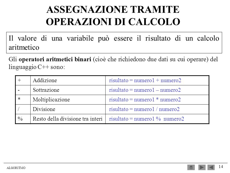 ASSEGNAZIONE TRAMITE OPERAZIONI DI CALCOLO