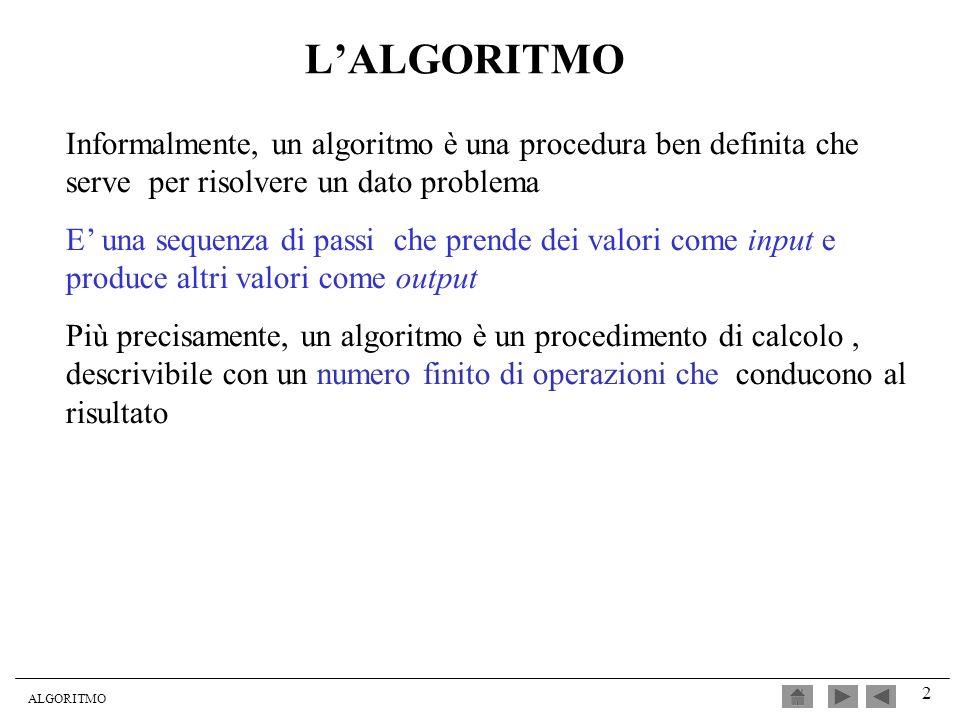 L'ALGORITMO Informalmente, un algoritmo è una procedura ben definita che serve per risolvere un dato problema.