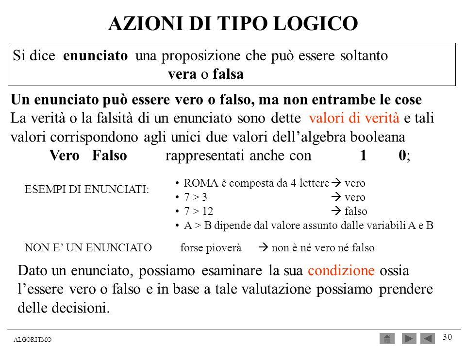 AZIONI DI TIPO LOGICOSi dice enunciato una proposizione che può essere soltanto. vera o falsa.