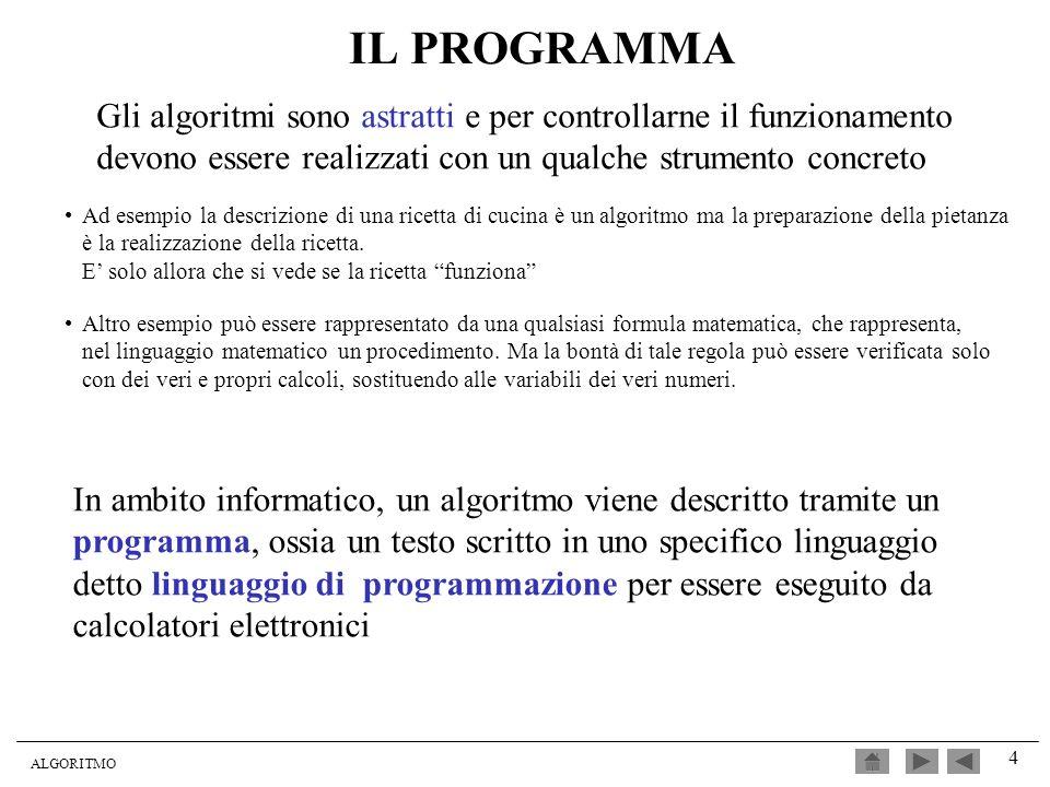 IL PROGRAMMA Gli algoritmi sono astratti e per controllarne il funzionamento devono essere realizzati con un qualche strumento concreto.