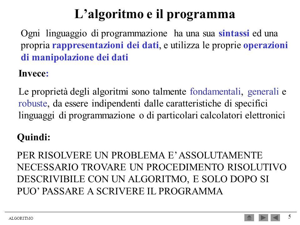 L'algoritmo e il programma