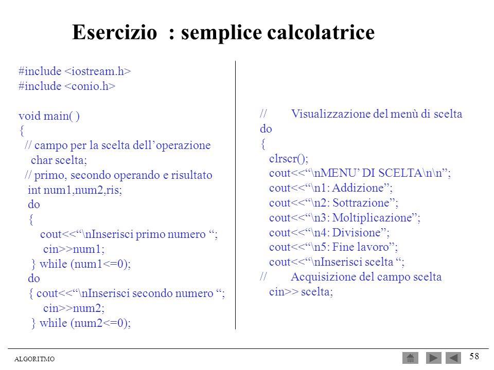 Esercizio : semplice calcolatrice