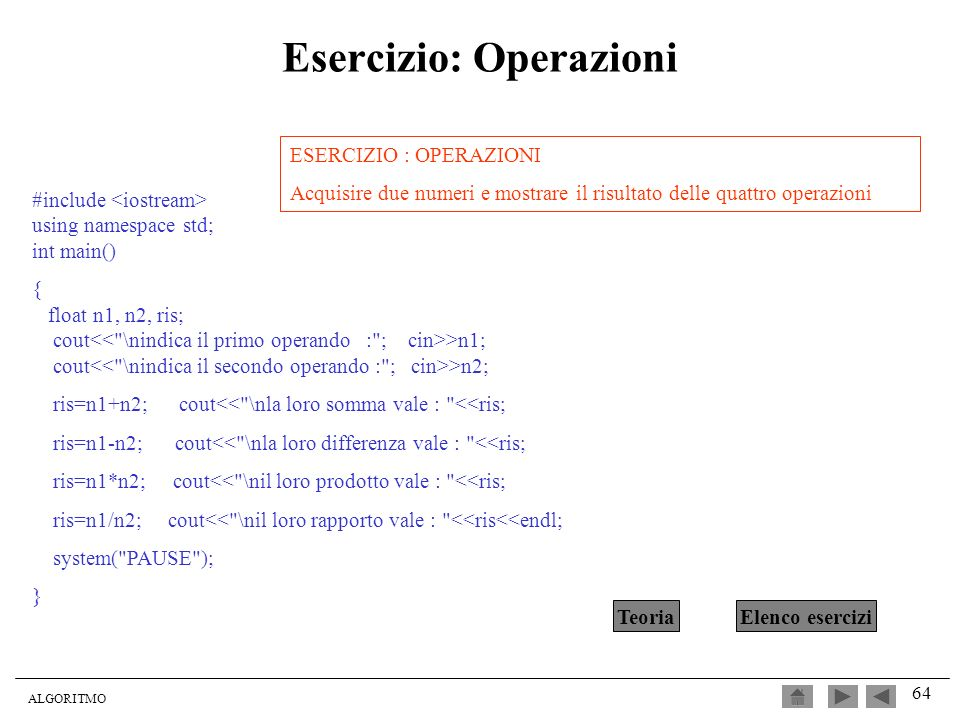 Esercizio: Operazioni