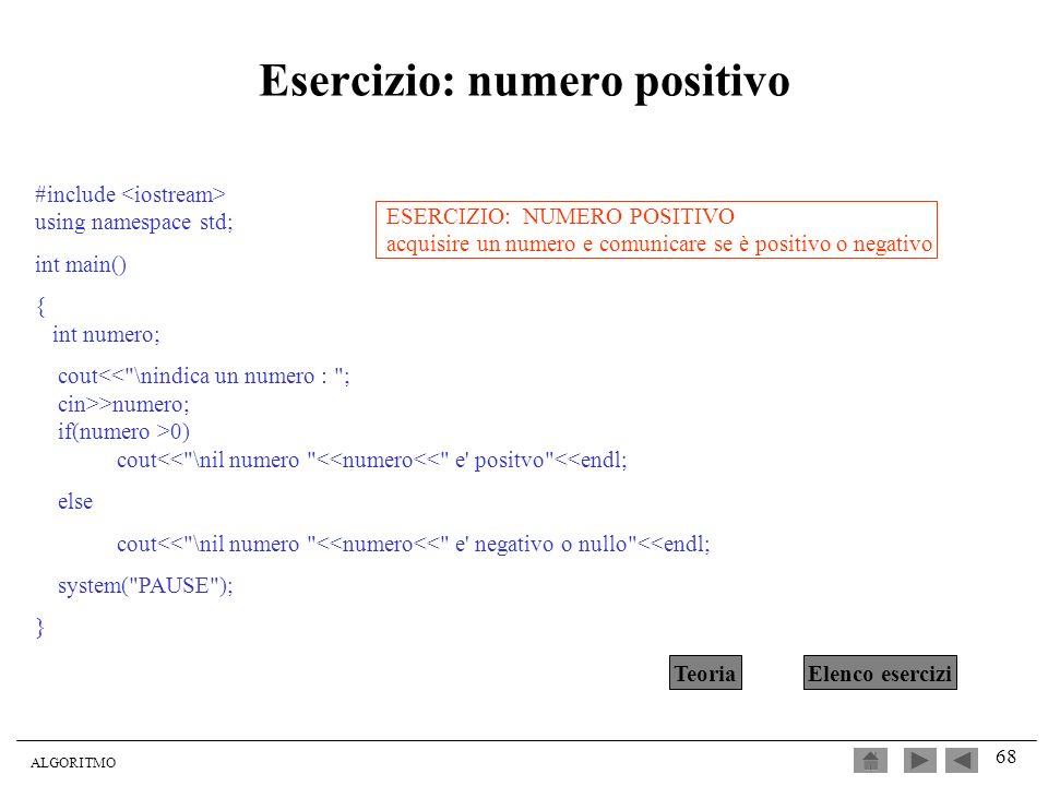 Esercizio: numero positivo