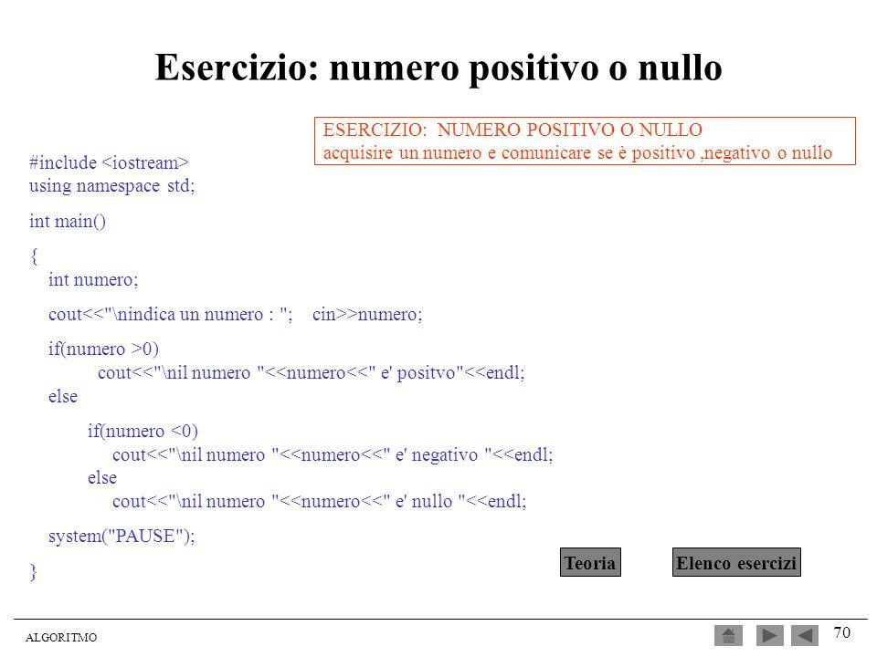 Esercizio: numero positivo o nullo