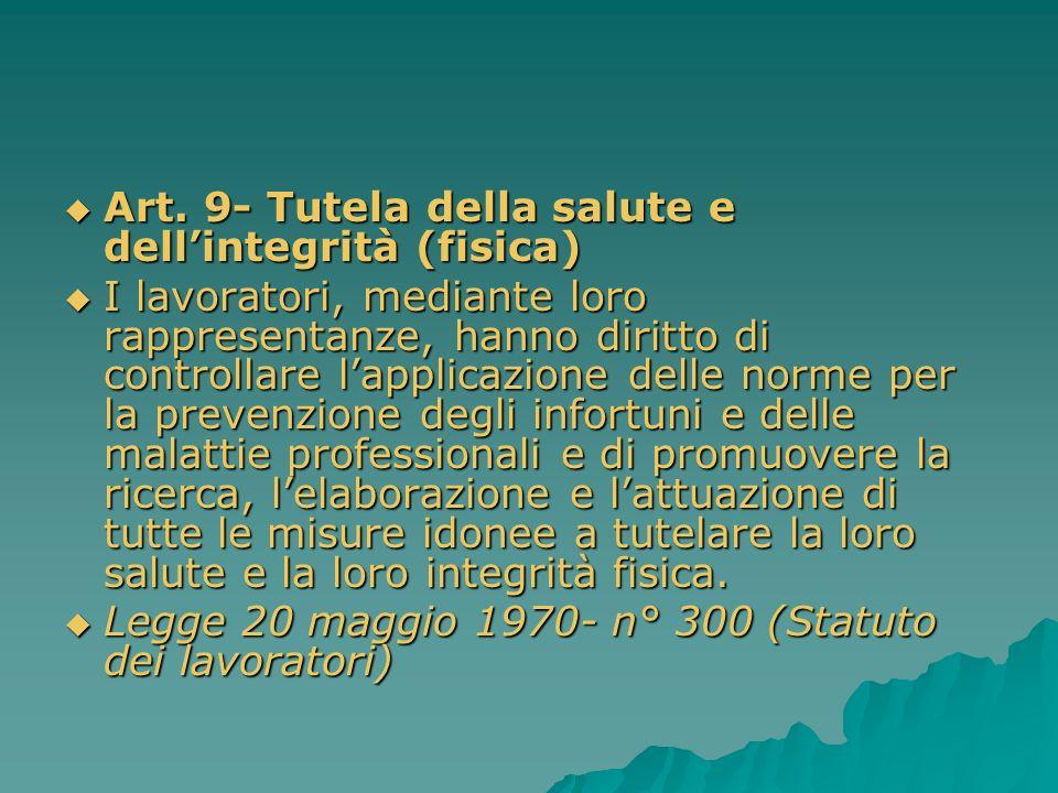 Art. 9- Tutela della salute e dell'integrità (fisica)