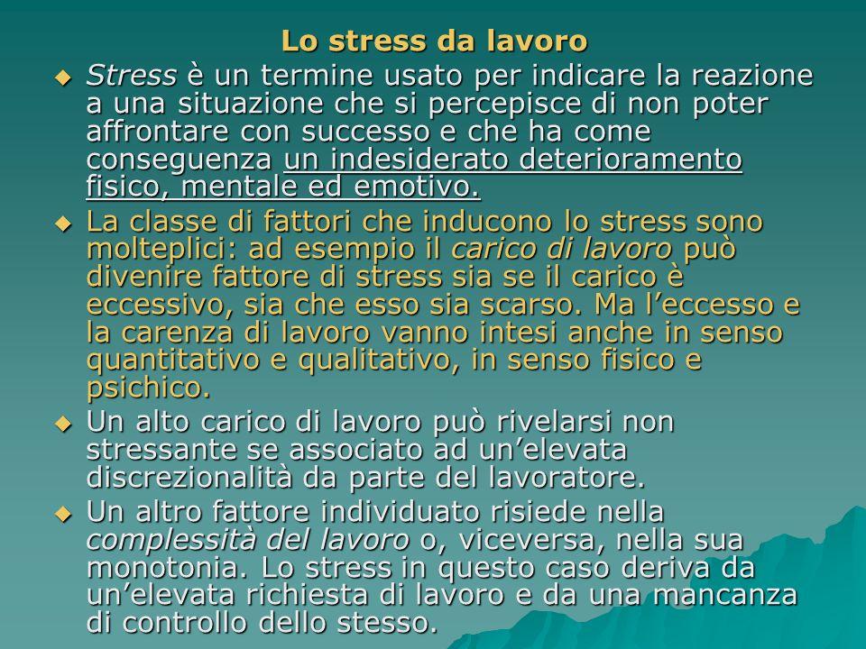 Lo stress da lavoro