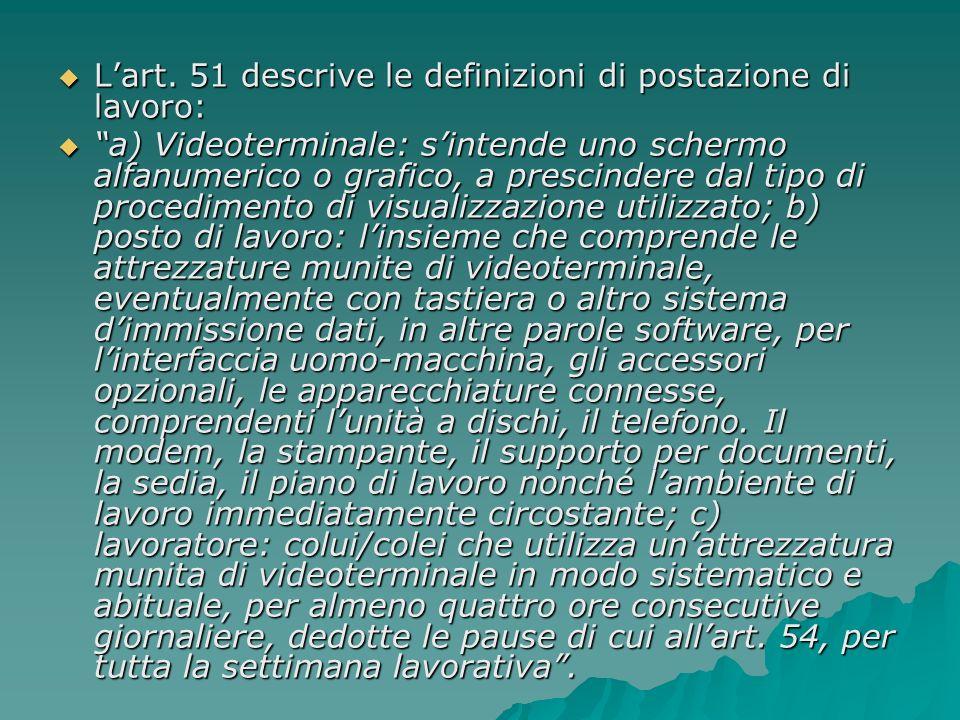 L'art. 51 descrive le definizioni di postazione di lavoro: