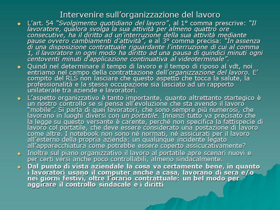 Intervenire sull'organizzazione del lavoro