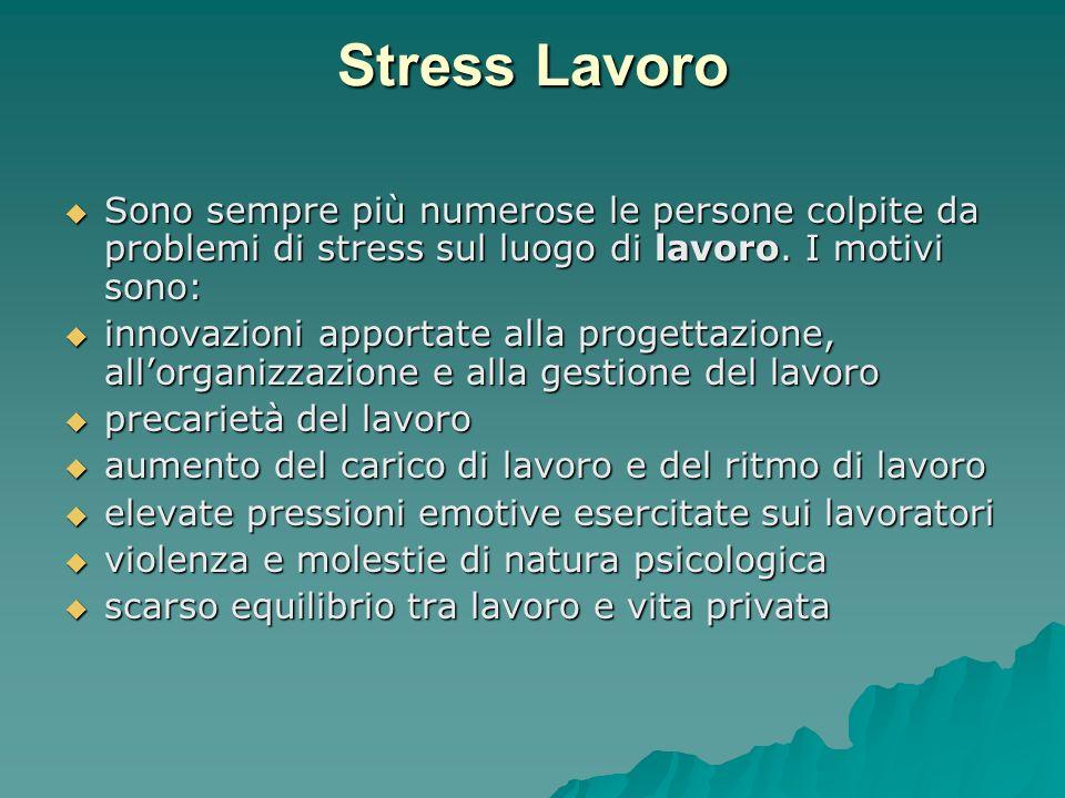 Stress LavoroSono sempre più numerose le persone colpite da problemi di stress sul luogo di lavoro. I motivi sono: