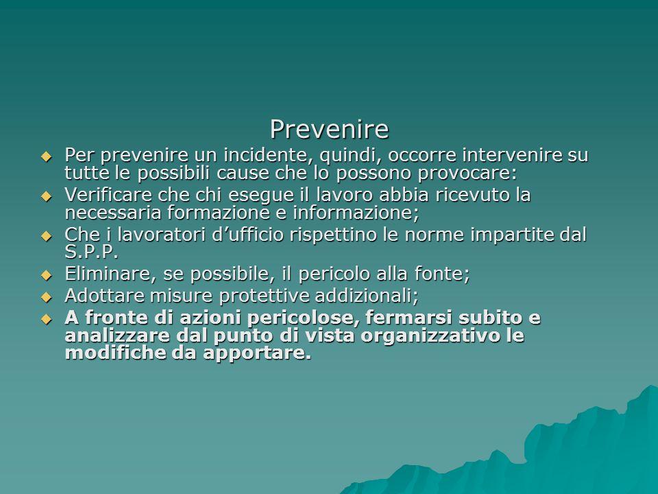 Prevenire Per prevenire un incidente, quindi, occorre intervenire su tutte le possibili cause che lo possono provocare: