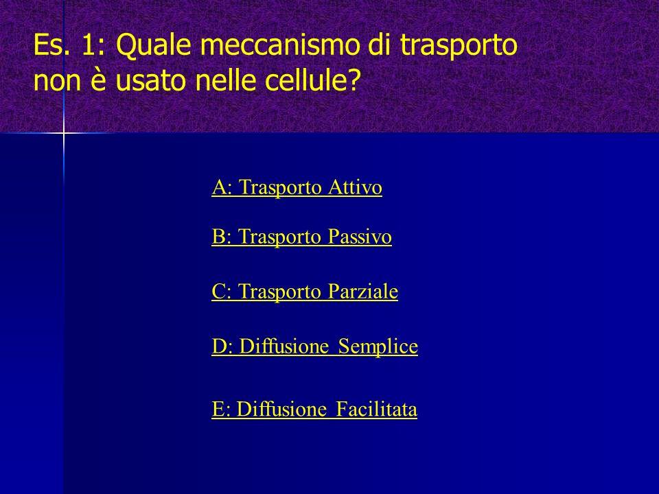Es. 1: Quale meccanismo di trasporto non è usato nelle cellule