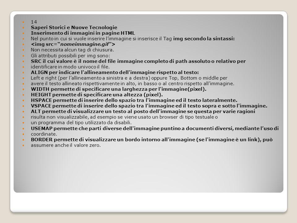14 Saperi Storici e Nuove Tecnologie. Inserimento di immagini in pagine HTML.