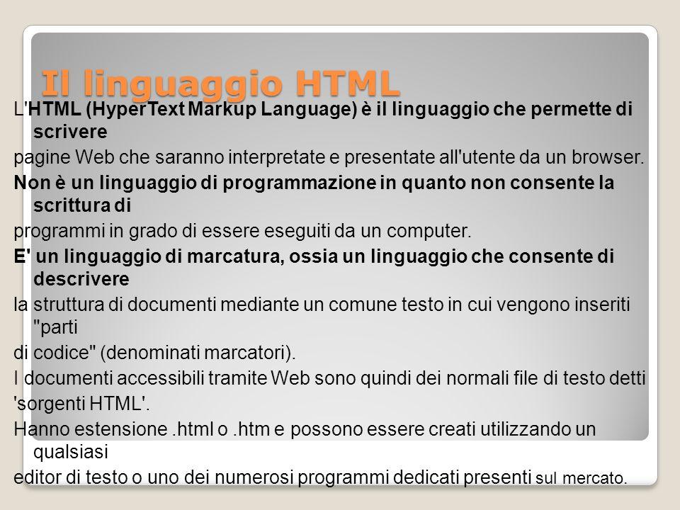Il linguaggio HTML
