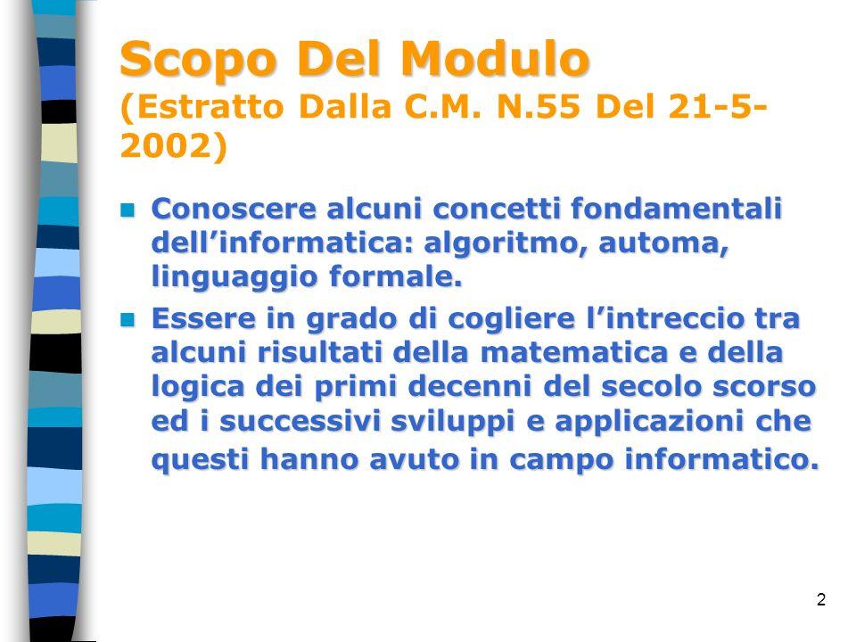 Scopo Del Modulo (Estratto Dalla C.M. N.55 Del 21-5-2002)